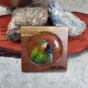 Vintage tribal wooden Toucan coaster